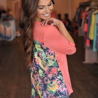 CORAL FLORAL TUNIC