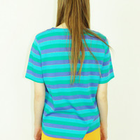 vtg color block tee mod striped boyfriend shirt minimalist patterned top small sm s