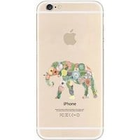 iPhone Case, DECO FAIRY® Protective Case Bumper[Scratch-Resistant] [Perfect Fit] Translucent Silicone Clear Case Gel Cover for Apple iPhone (floral elephant right for iPhone 6)