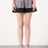Sequin Contrast Hem Skater Skirt - Skirts  - Clothing