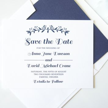 Navy Blue Wreath Save the Date