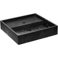 Exclusive Square Vessel Sink Countertop Lavatory Washbasin Matte Marquina Marble