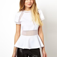 ASOS Peplum Top in Scuba with Mesh Inserts
