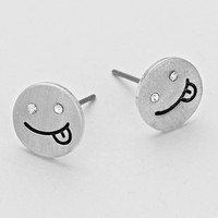 Tongue Out Smile Emoji Stud Earrings - Silver