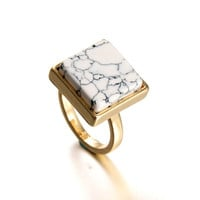 Square Geometric White Howlite 18kt Gold Plated Cocktail Marble Style Ring