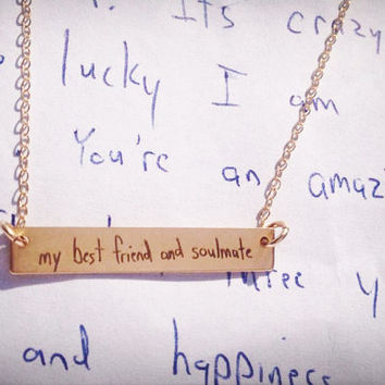 """Your Handwriting, Handwritten Bar Necklace (1.2"""" x .2"""") Rose Gold Yellow Gold Sterling Silver Personalized, Custom, Unique, Bridesmaid"""