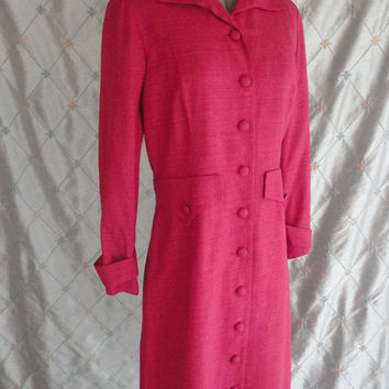 ON SALE 50s 60s Dress // Vintage 1950s 1960s Raspberry Pink Red Coat Dress Size L 32 waist fully lined