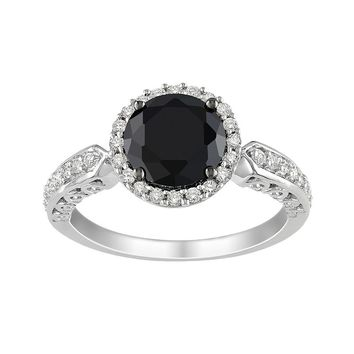 Sterling Silver Black & White Cubic Zirconia Ring