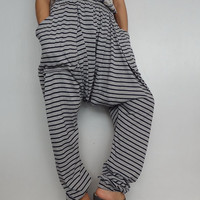 Drop crotch long trouser unisex harem pants unique cotton blend (pants04).