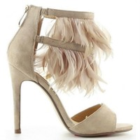 Diany Nude Suede Open toe Heels Feathers