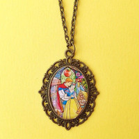 Handmade Snow White & Prince Charming Inspired Stained Glass Window Necklace - Clear Oval Dome Jewelry - Bronze