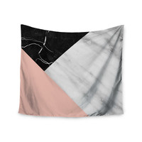 "Cafelab ""Marble Collage With Pale Pink ""  Gray Pink Wall Tapestry"