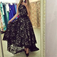 Women Summer Formal Party  Long Maxi Dress  Lace Floral Gown Dresses White Black LL2