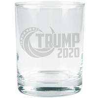 Election Re-Elect Donald Trump 2020 Swoosh Etched Glass Tumbler