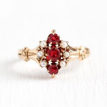 Antique Victorian Ring - Vintage 10k Rosy Yellow Gold Garnet & Glass Doublet + Seed Pearl Statement - Size 7 Red Pink Stone Fine Jewelry