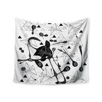 "Li Zamperini ""Geometric"" Black White Wall Tapestry"