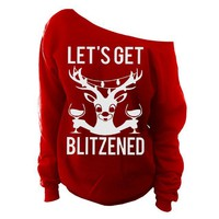 Ugly Christmas Sweater - Let's Get Blizened Womens Oversized Off-Shoulder Slouchy Sweatshirt