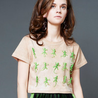 Tan Cotton Cropped T Shirt with Green Lizard Embroidery By Toy Syndrome