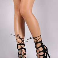Suede Cutout Lace Up Peep Toe Stiletto Heel