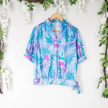 Vintage Blue Tropical Blouse