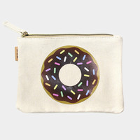 Donut Cotton Canvas Eco Pouch Makeup Bag