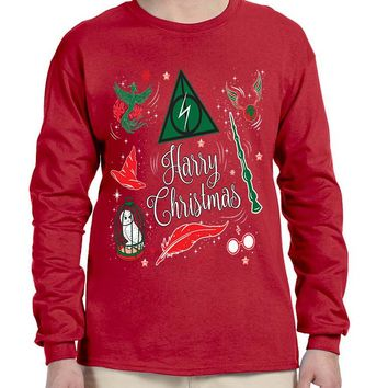 Men's Long Sleeve Harry Christmas Cool Ugly Xmas Holiday Shirt