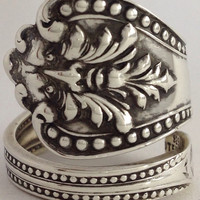 """Size 8.5 Vintage Sterling Silver """"Green Man"""" Spoon Ring"""