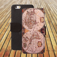 map of the world colorful iphone 5/ 5s iphone 4/ 4s iPhone 6 6 Plus iphone 5C Wallet Case , iPhone 5 Case, Cover, Cases colorful pattern L045