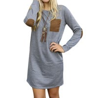 Long Sleeve dress Mini Bodycon Tunic Slim Party Sexy Clubwear Tshirt