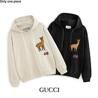 GUCCI hot selling embroidery deer cotton wool hoodies fashion casual hoodies