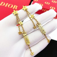 DIOR New Popular Women Stylish Chain Tassel Pendant Earrings Jewelry Accessories