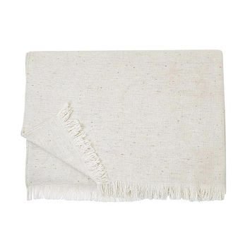 S. Harris Fleck Boucle Cashmere Throw Blanket in Ivory