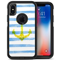 Blue Striped Watercolor Gold Anchor - iPhone X OtterBox Case & Skin Kits