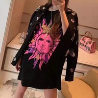 """""""Versace""""Woman's Leisure  Fashion Letter Bead personality Printing Loose  Short Sleeve Tops"""
