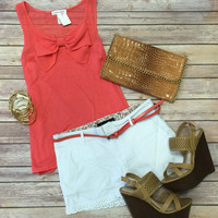 Bow Front Top: Coral