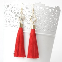 Red Tassel Earrings with Gold Oval and Crystal