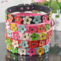 Fashion 5Colors 4 Sizes Leather Puppy Pet Dog Collar Cat Neck Strap Necklace with Studded Sweet Flower