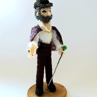 Illusionist - Beaded collectible magician figurine - handmade seed bead doll - beadwork bearded man statuette - action figure collectable