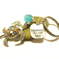 Colorful Sea Turtle Keychain, Dreaming of the Sea Key Charm Chain, Cute Car Keychain Accessory, Wire Wrapped Sea Glass Pendant Key Ring