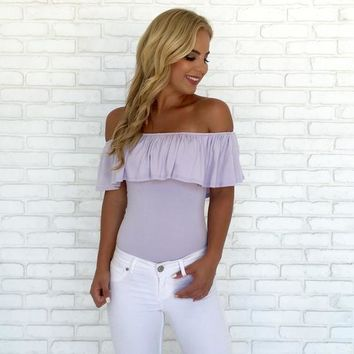 Still The One Off Shoulder Bodysuit in Lilac