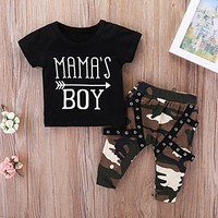 USA Toddler Baby Boys Tops T-shirt Camouflage Pants Harem Outfits Set Clothes