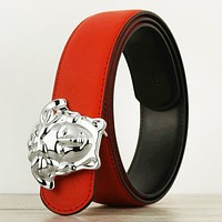 Versace New fashion human head buckle couple belt Red