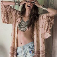 Women Chiffon Kimono Cardigan Printed Shawl Coats Tops Beach Cover Up Blouse LOT