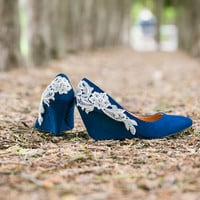 Wedding Heels - Blue Wedges, Blue Wedding Shoes, Low Wedge with Ivory Lace. US Size 8.5