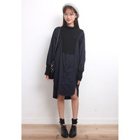 Mixed Knit Shirt Dress