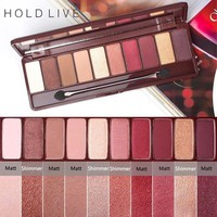 HOLD LIVE 10 Colors Matte Shimmer Eyeshadow Palette Maple Song Love Pigment Glitter Red Eye Shadow Pallete Nude Cosmetics Makeup