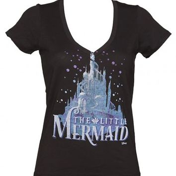 LIMITED EDITION Ladies Black Disney Little Mermaid Castle Deep V-Neck T-Shirt From Junk Food : TruffleShuffle.com