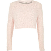 River Island Womens Pink pink fluffy crop sweater