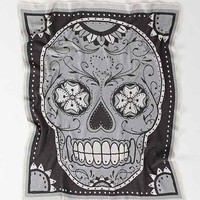 The Rise And Fall Sugar Skull Throw Blanket- Grey One