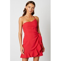 One Shoulder Ruffle Dress - Red